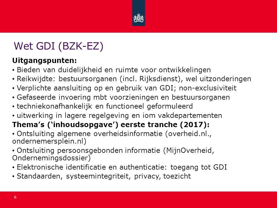 Wet GDI (BZK-EZ) Uitgangspunten: Bieden van duidelijkheid en ruimte voor ontwikkelingen Reikwijdte: bestuursorganen (incl. Rijksdienst), wel uitzonder