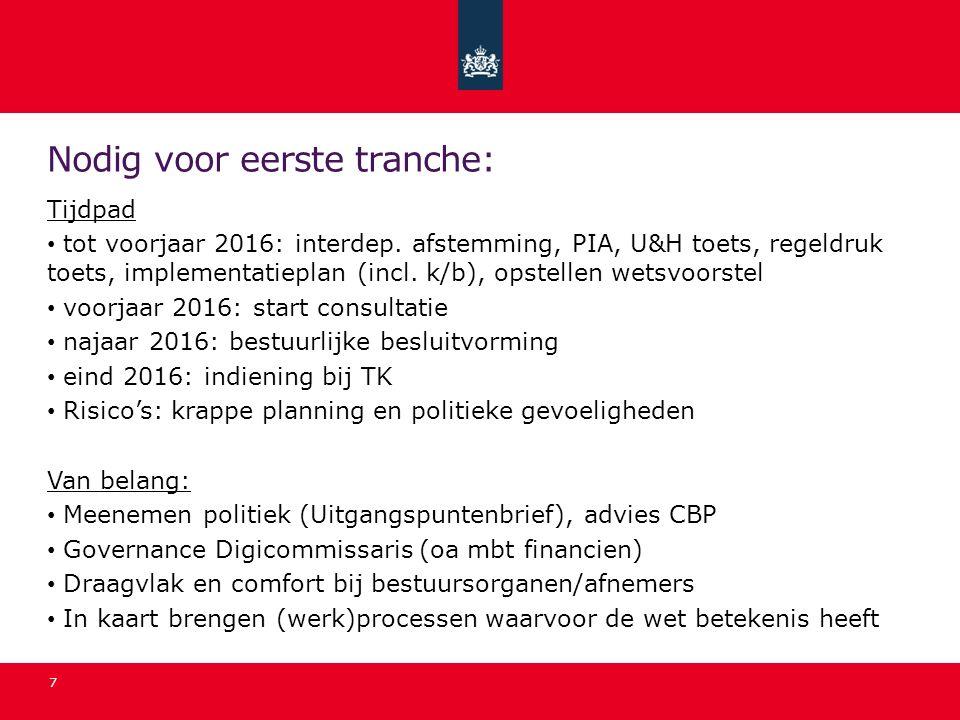 Nodig voor eerste tranche: Tijdpad tot voorjaar 2016: interdep. afstemming, PIA, U&H toets, regeldruk toets, implementatieplan (incl. k/b), opstellen