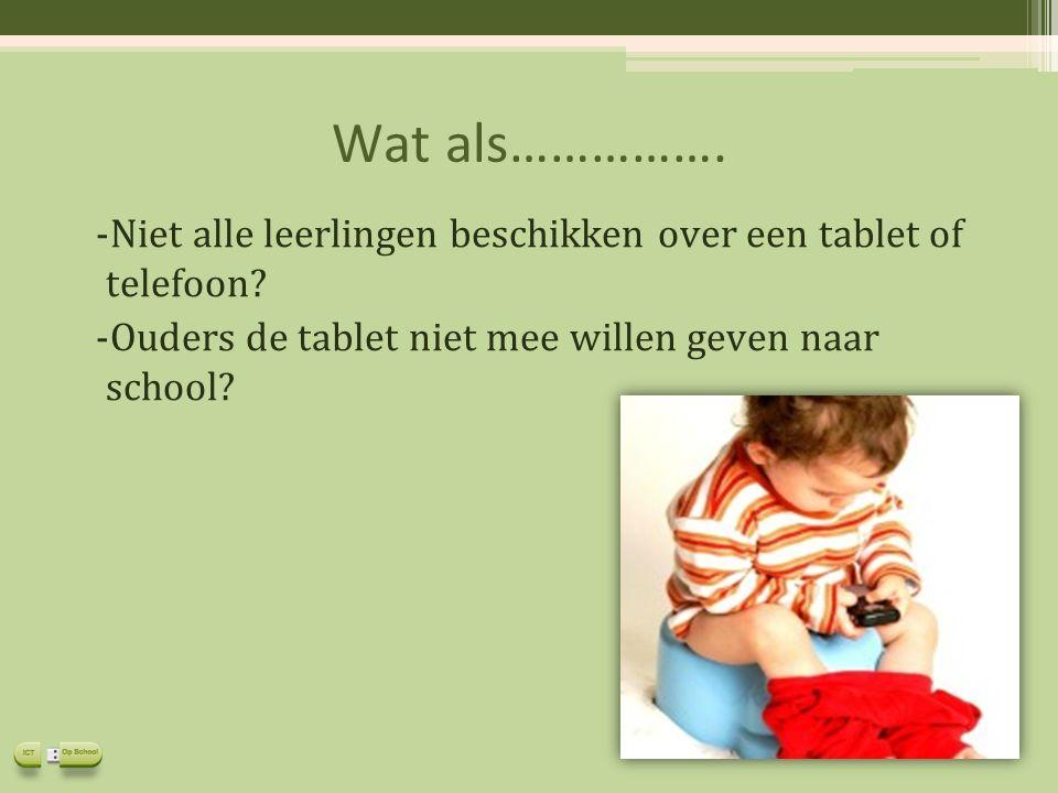 Wat als……………. -Niet alle leerlingen beschikken over een tablet of telefoon? -Ouders de tablet niet mee willen geven naar school?