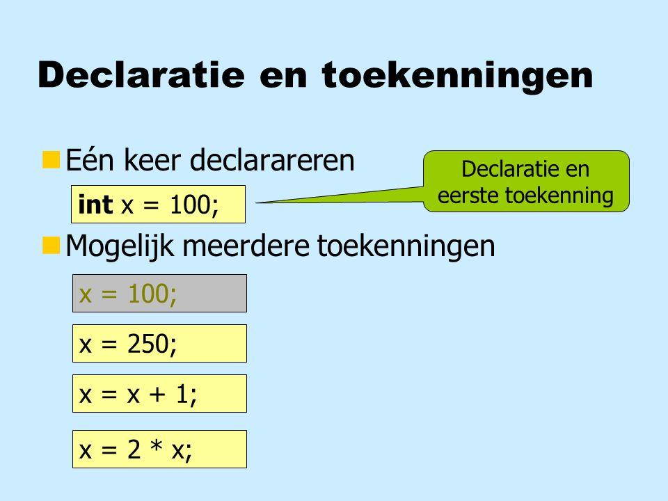 Declaratie en toekenningen nEén keer declarareren nMogelijk meerdere toekenningen int x; x = 100; x = 250; x = x + 1; x = 2 * x; int x = 100; x = 100; Declaratie en eerste toekenning