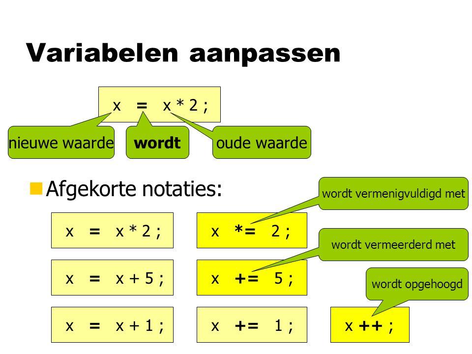 Variabelen aanpassen nAfgekorte notaties: x = x * 2 ; oude waarde wordt nieuwe waarde x = x * 2 ; x *= 2 ; x = x + 5 ; x += 5 ; x = x + 1 ; x += 1 ; x ++ ; wordt vermenigvuldigd met wordt vermeerderd met wordt opgehoogd