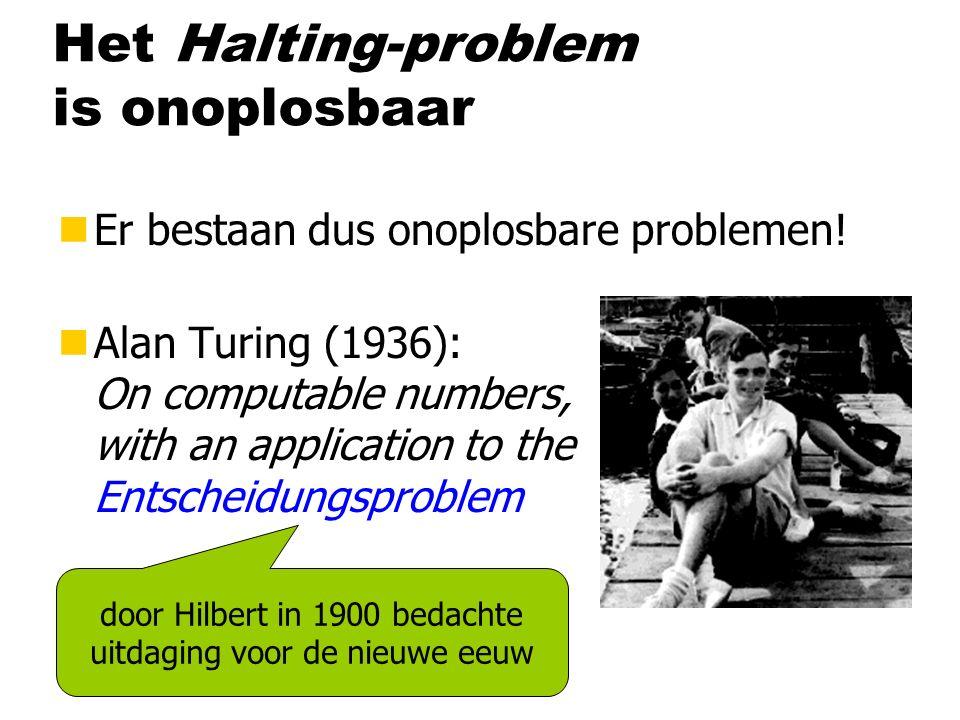 Het Halting-problem is onoplosbaar nEr bestaan dus onoplosbare problemen.
