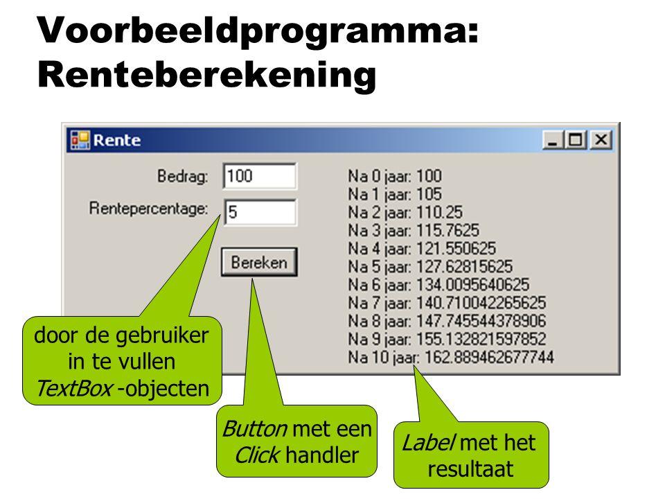 Voorbeeldprogramma: Renteberekening door de gebruiker in te vullen TextBox -objecten Label met het resultaat Button met een Click handler