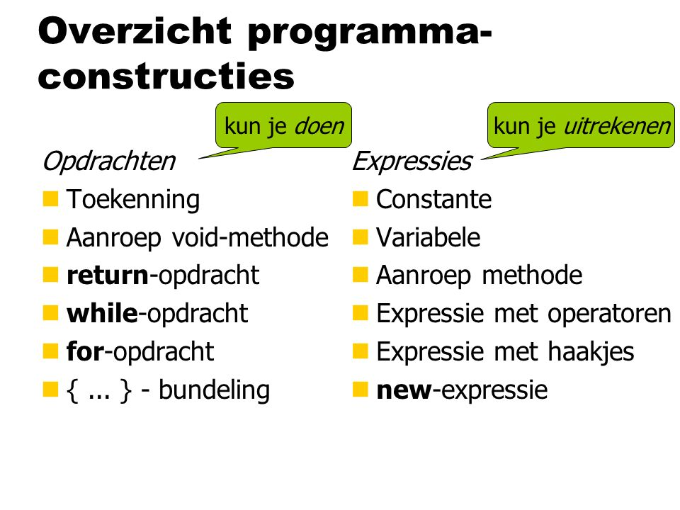 Overzicht programma- constructies Opdrachten nToekenning nAanroep void-methode nreturn-opdracht nwhile-opdracht nfor-opdracht n{...