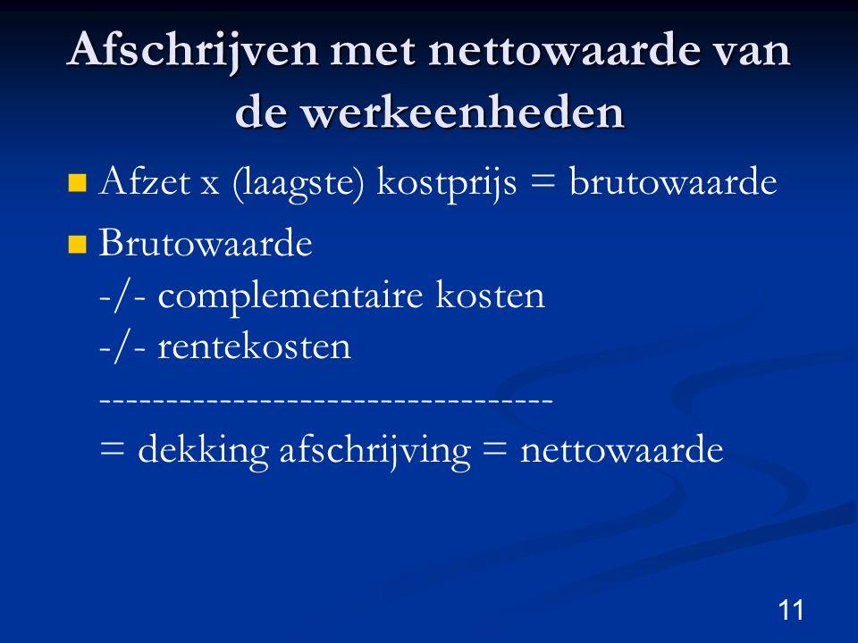 11 Afschrijven met nettowaarde van de werkeenheden Afzet x (laagste) kostprijs = brutowaarde Brutowaarde -/- complementaire kosten -/- rentekosten ---