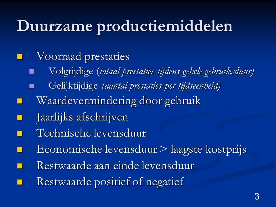 3 Duurzame productiemiddelen Voorraad prestaties Voorraad prestaties Volgtijdige (totaal prestaties tijdens gehele gebruiksduur) Volgtijdige (totaal p