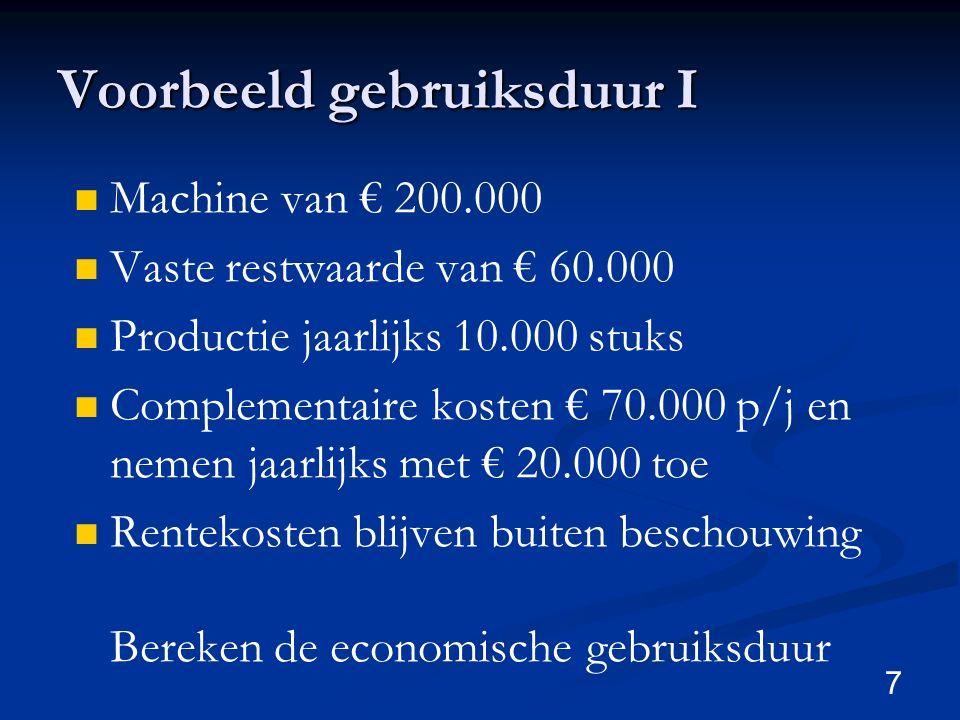 7 Voorbeeld gebruiksduur I Machine van € 200.000 Vaste restwaarde van € 60.000 Productie jaarlijks 10.000 stuks Complementaire kosten € 70.000 p/j en