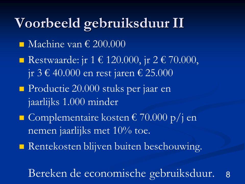 8 Voorbeeld gebruiksduur II Machine van € 200.000 Restwaarde: jr 1 € 120.000, jr 2 € 70.000, jr 3 € 40.000 en rest jaren € 25.000 Productie 20.000 stu