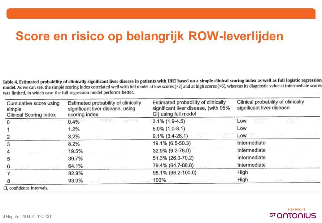 Score en risico op belangrijk ROW-leverlijden J Hepatol 2014;61:124-131
