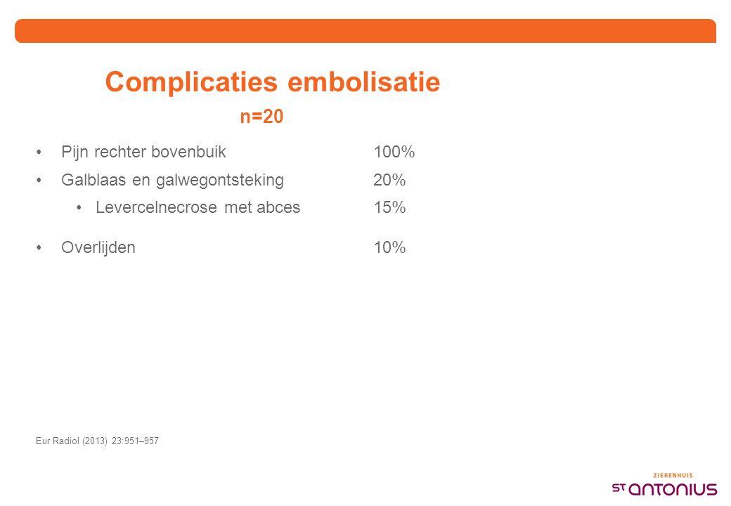 Complicaties embolisatie n=20 Pijn rechter bovenbuik100% Galblaas en galwegontsteking20% Levercelnecrose met abces15% Overlijden10% Eur Radiol (2013) 23:951–957