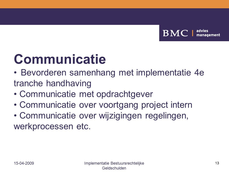 15-04-2009Implementatie Bestuursrechtelijke Geldschulden 13 Communicatie Bevorderen samenhang met implementatie 4e tranche handhaving Communicatie met