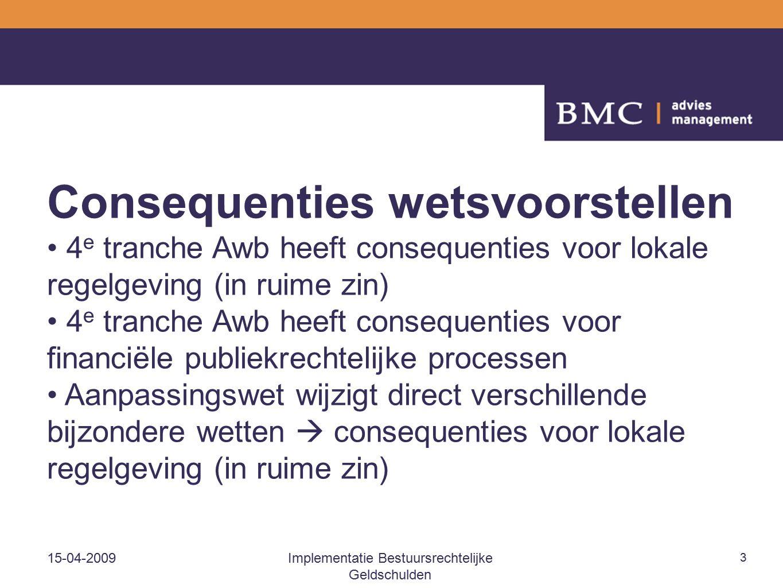 15-04-2009Implementatie Bestuursrechtelijke Geldschulden 3 Consequenties wetsvoorstellen 4 e tranche Awb heeft consequenties voor lokale regelgeving (