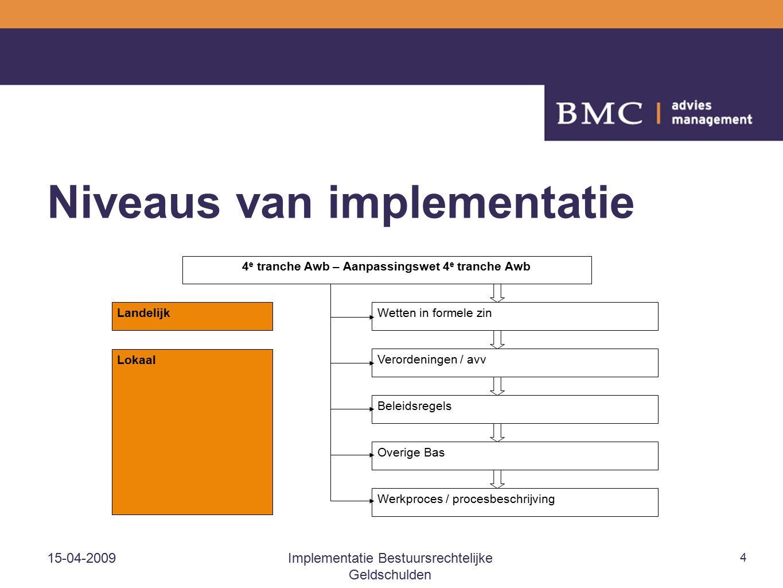 15-04-2009Implementatie Bestuursrechtelijke Geldschulden 4 Niveaus van implementatie Landelijk Lokaal 4 e tranche Awb – Aanpassingswet 4 e tranche Awb