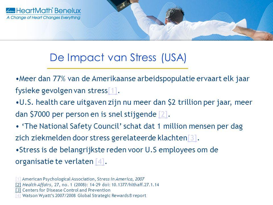 Meer dan 77% van de Amerikaanse arbeidspopulatie ervaart elk jaar fysieke gevolgen van stress[1].[1] U.S.