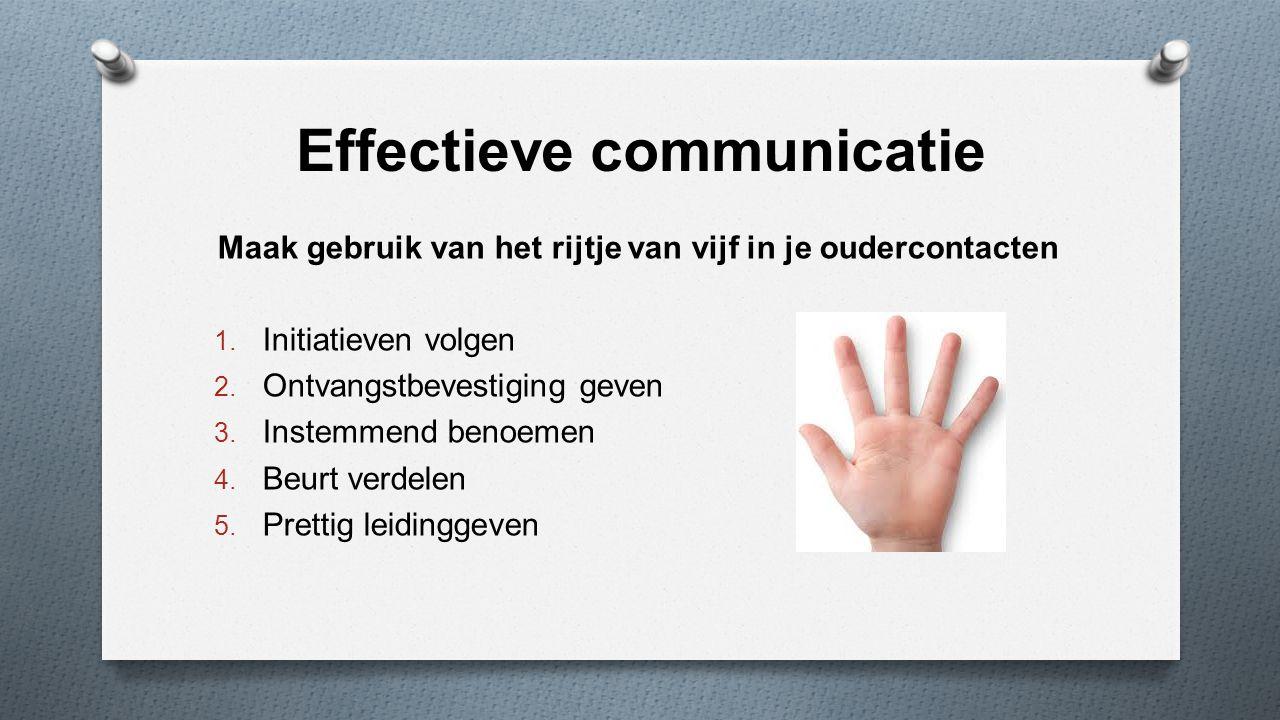 Effectieve communicatie Maak gebruik van het rijtje van vijf in je oudercontacten 1. Initiatieven volgen 2. Ontvangstbevestiging geven 3. Instemmend b