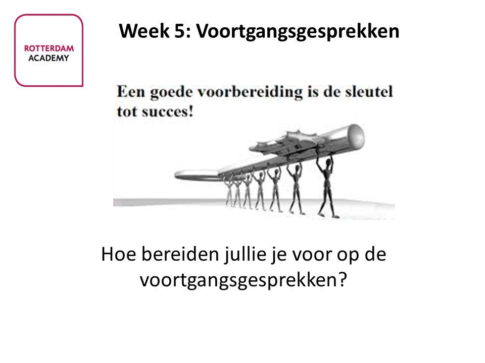 Week 5: Voortgangsgesprekken Hoe bereiden jullie je voor op de voortgangsgesprekken?