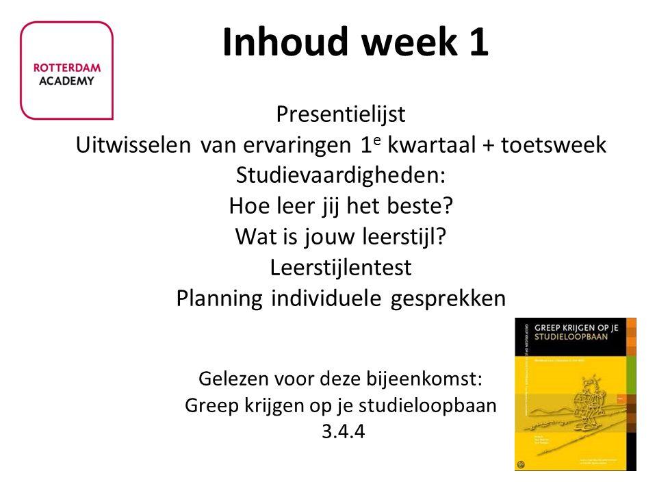 - Presentielijst Uitwisselen van ervaringen 1 e kwartaal + toetsweek Studievaardigheden: Hoe leer jij het beste.