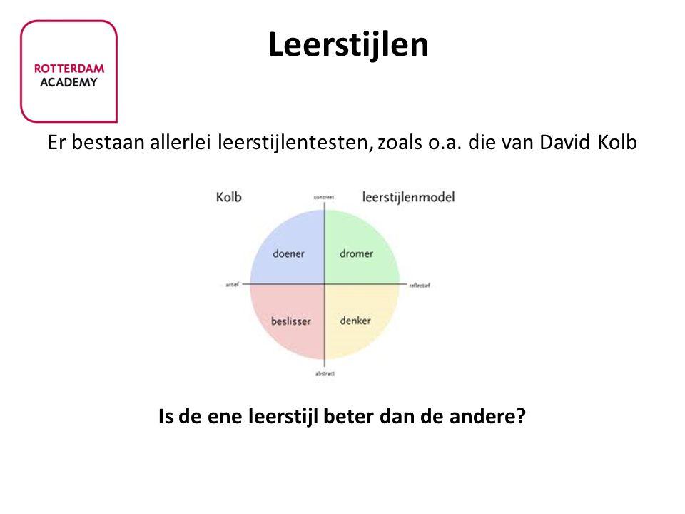Leerstijlen Er bestaan allerlei leerstijlentesten, zoals o.a. die van David Kolb Is de ene leerstijl beter dan de andere?
