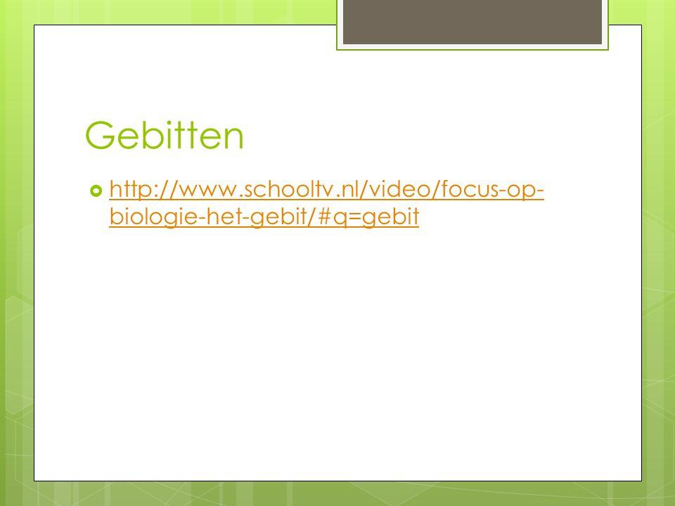 Gebitten  http://www.schooltv.nl/video/focus-op- biologie-het-gebit/#q=gebit http://www.schooltv.nl/video/focus-op- biologie-het-gebit/#q=gebit