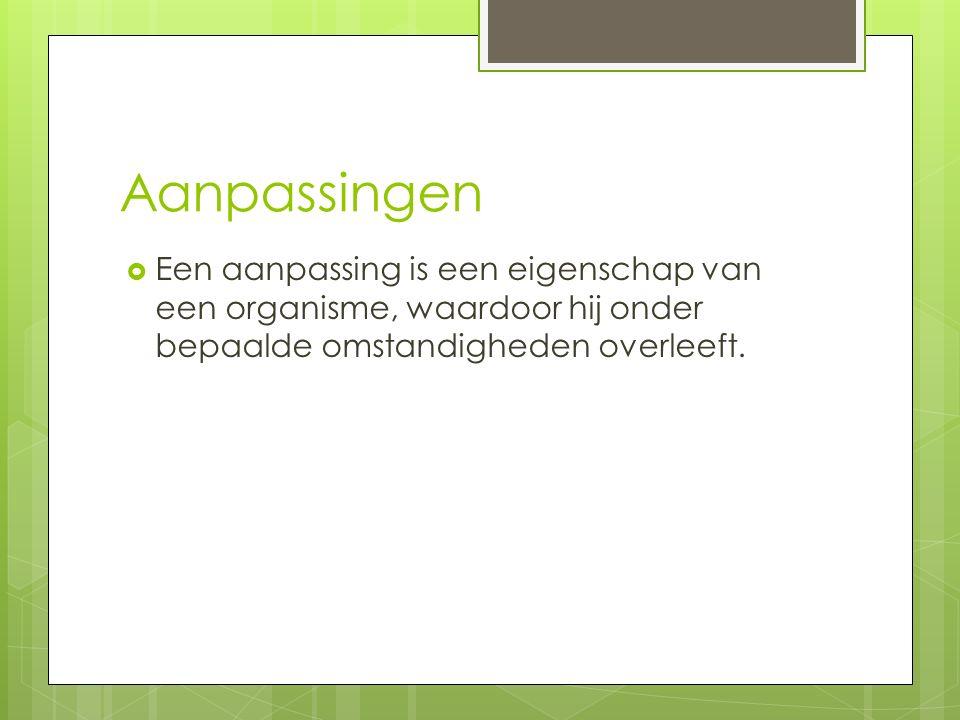 Aanpassingen  Een aanpassing is een eigenschap van een organisme, waardoor hij onder bepaalde omstandigheden overleeft.
