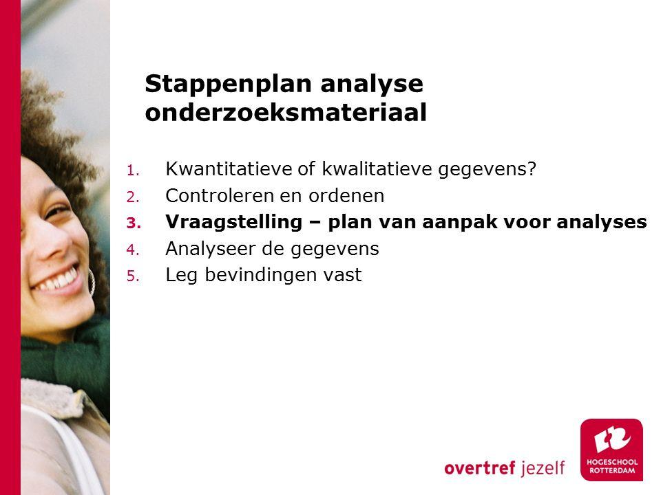 Stappenplan analyse onderzoeksmateriaal 1. Kwantitatieve of kwalitatieve gegevens? 2. Controleren en ordenen 3. Vraagstelling – plan van aanpak voor a