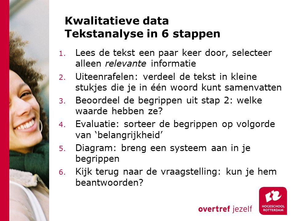 Kwalitatieve data Tekstanalyse in 6 stappen 1. Lees de tekst een paar keer door, selecteer alleen relevante informatie 2. Uiteenrafelen: verdeel de te