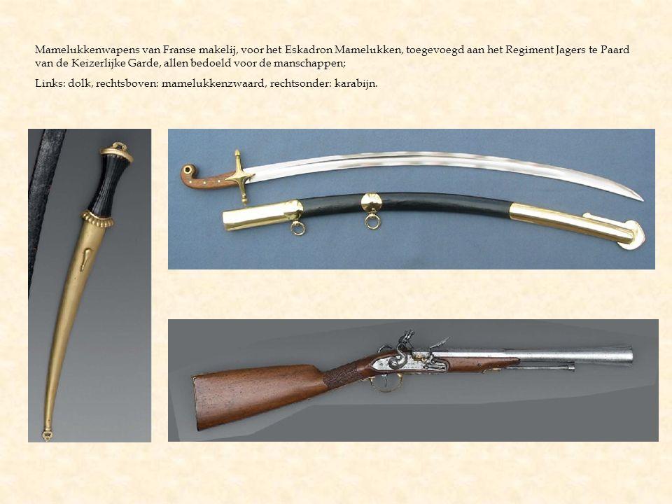 Mamelukkenwapens van Franse makelij, voor het Eskadron Mamelukken, toegevoegd aan het Regiment Jagers te Paard van de Keizerlijke Garde, allen bedoeld