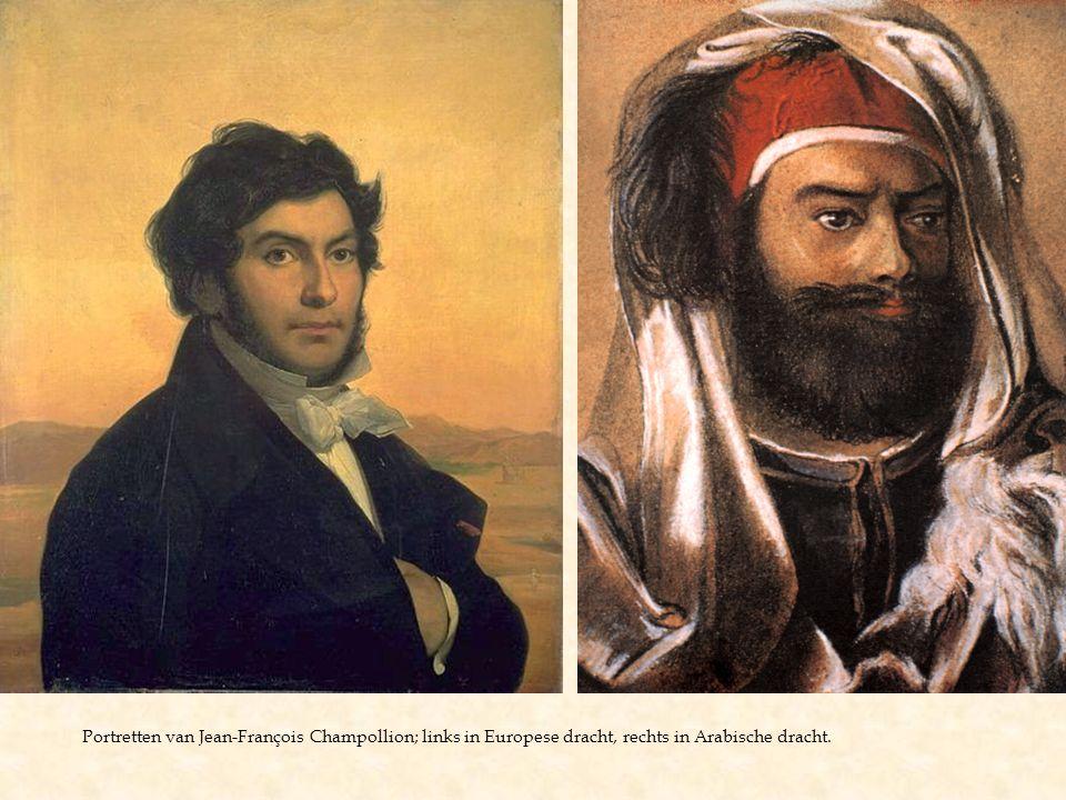 Portretten van Jean-François Champollion; links in Europese dracht, rechts in Arabische dracht.
