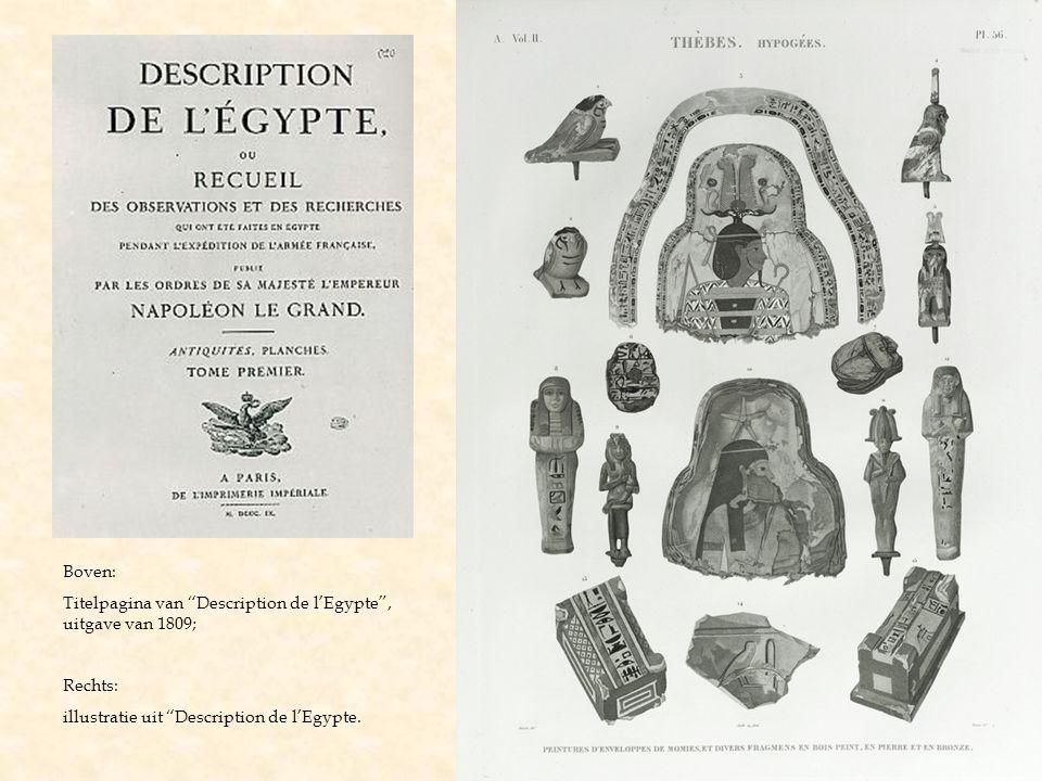 """Boven: Titelpagina van """"Description de l'Egypte"""", uitgave van 1809; Rechts: illustratie uit """"Description de l'Egypte."""