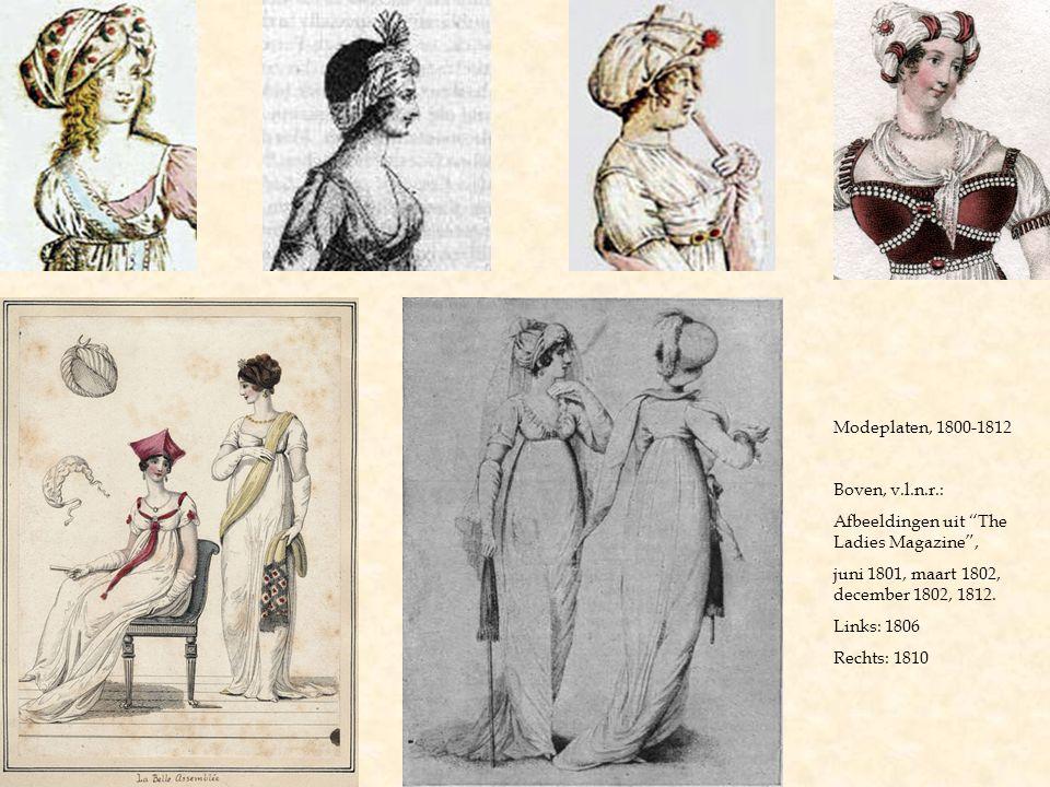 """Modeplaten, 1800-1812 Boven, v.l.n.r.: Afbeeldingen uit """"The Ladies Magazine"""", juni 1801, maart 1802, december 1802, 1812. Links: 1806 Rechts: 1810"""