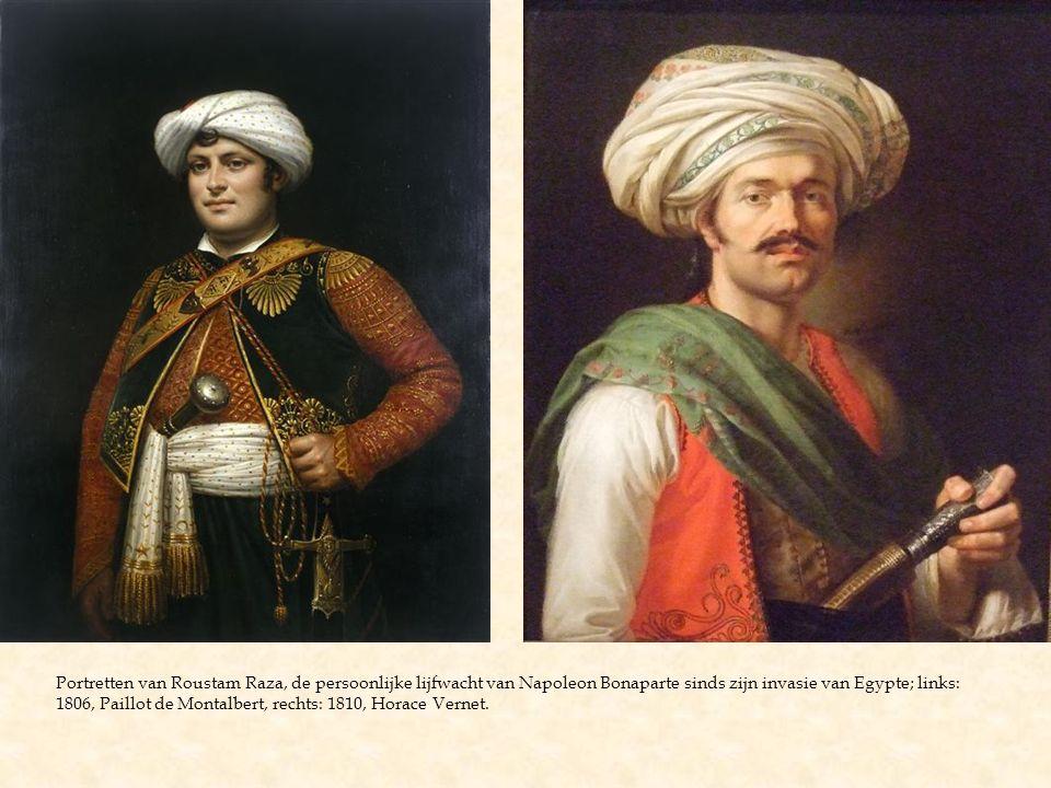 Portretten van Roustam Raza, de persoonlijke lijfwacht van Napoleon Bonaparte sinds zijn invasie van Egypte; links: 1806, Paillot de Montalbert, recht
