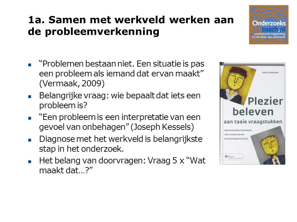 """1a. Samen met werkveld werken aan de probleemverkenning n """"Problemen bestaan niet. Een situatie is pas een probleem als iemand dat ervan maakt"""" (Verma"""