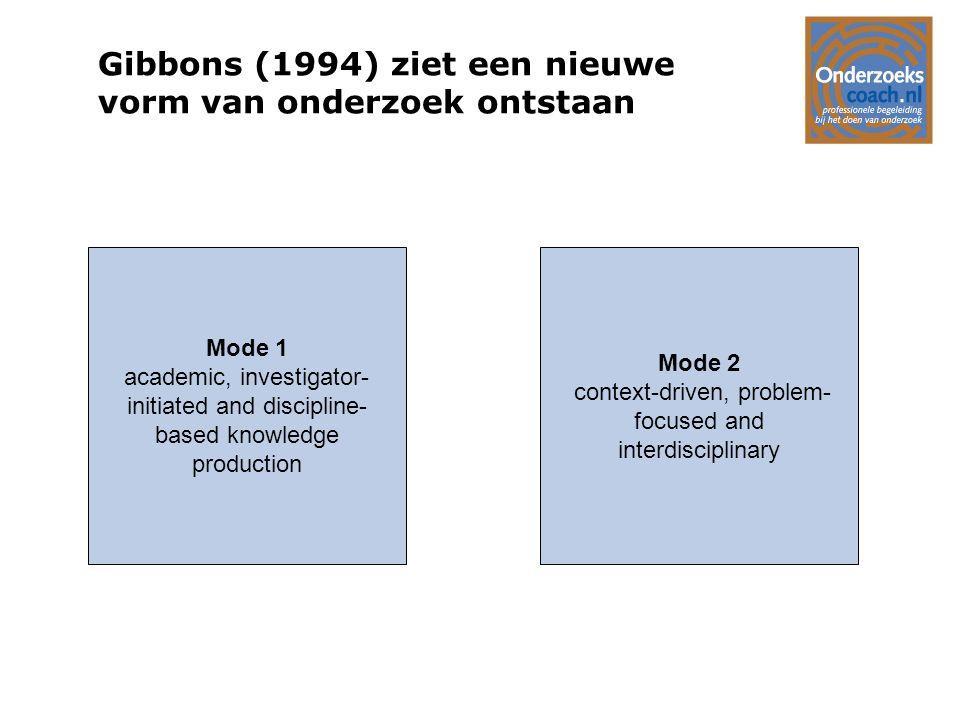 Gibbons (1994) ziet een nieuwe vorm van onderzoek ontstaan Mode 1 academic, investigator- initiated and discipline- based knowledge production Mode 2
