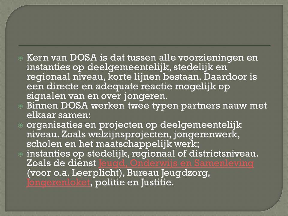  Kern van DOSA is dat tussen alle voorzieningen en instanties op deelgemeentelijk, stedelijk en regionaal niveau, korte lijnen bestaan.