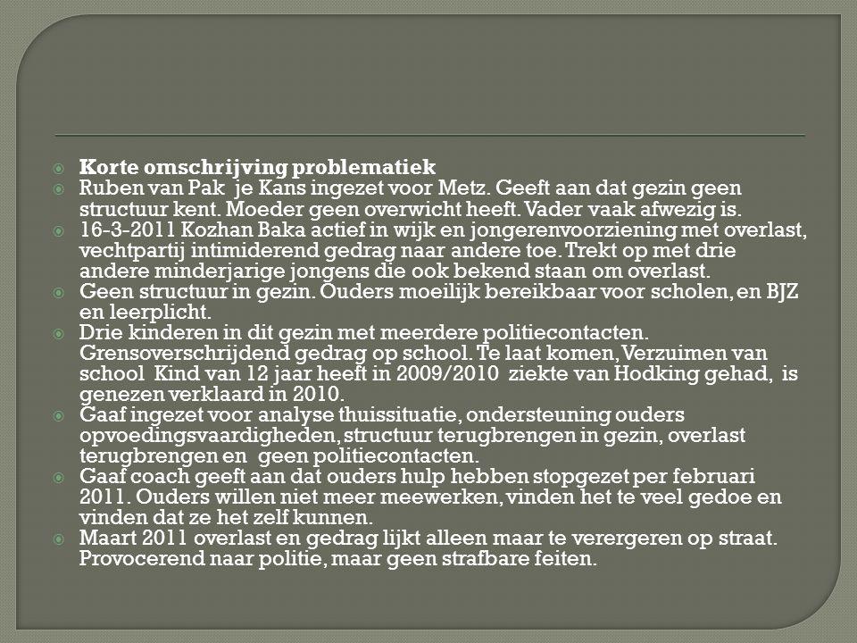  Korte omschrijving problematiek  Ruben van Pak je Kans ingezet voor Metz.