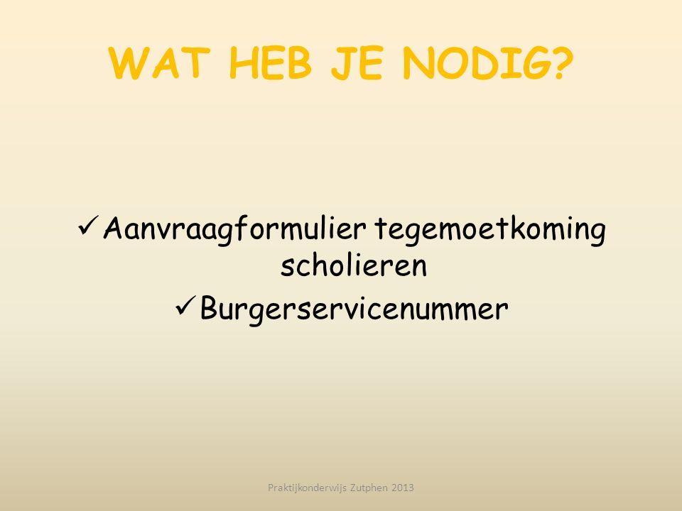 WAT HEB JE NODIG? Aanvraagformulier tegemoetkoming scholieren Burgerservicenummer Praktijkonderwijs Zutphen 2013