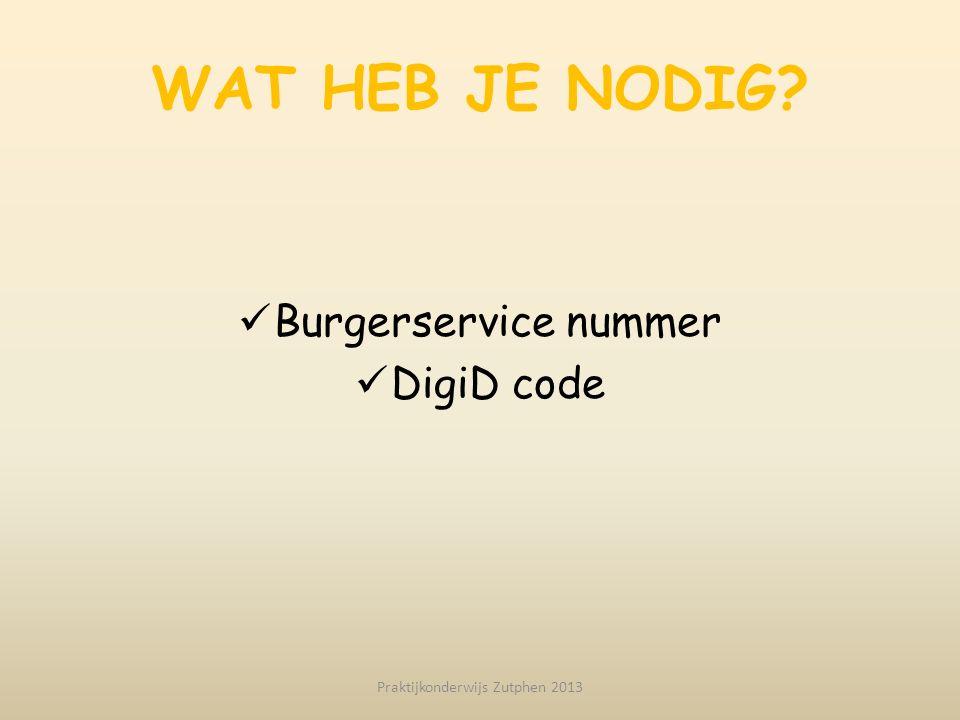 WAT HEB JE NODIG? Burgerservice nummer DigiD code Praktijkonderwijs Zutphen 2013