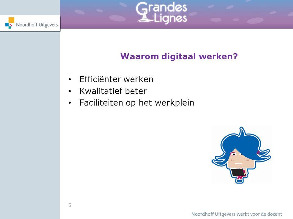 Waarom digitaal werken Efficiënter werken Kwalitatief beter Faciliteiten op het werkplein 5