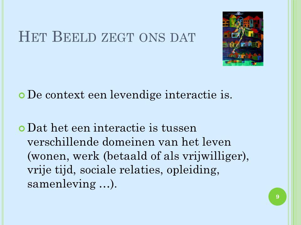 H ET B EELD ZEGT ONS DAT De context een levendige interactie is.