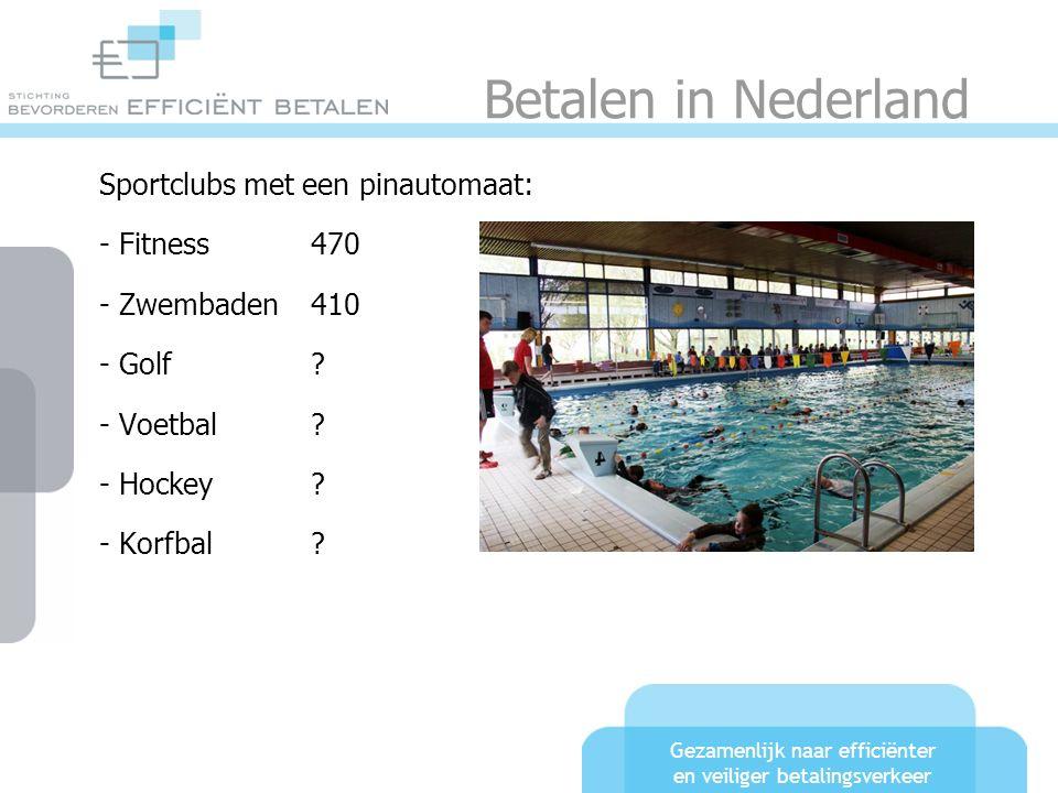 Gezamenlijk naar efficiënter en veiliger betalingsverkeer Betalen in Nederland Sportclubs met een pinautomaat: - Fitness470 - Zwembaden410 - Golf? - V