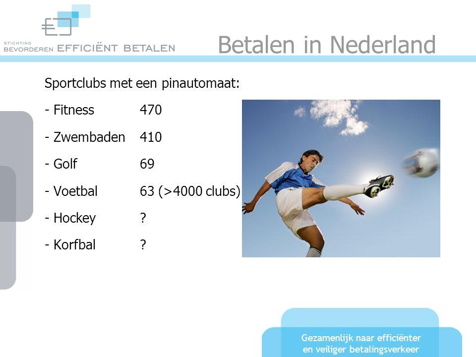 Gezamenlijk naar efficiënter en veiliger betalingsverkeer Betalen in Nederland Sportclubs met een pinautomaat: - Fitness470 - Zwembaden410 - Golf69 - Voetbal63 (>4000 clubs) - Hockey .