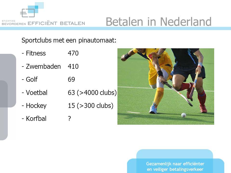 Gezamenlijk naar efficiënter en veiliger betalingsverkeer Betalen in Nederland Sportclubs met een pinautomaat: - Fitness470 - Zwembaden410 - Golf69 - Voetbal63 (>4000 clubs) - Hockey 15 (>300 clubs) - Korfbal
