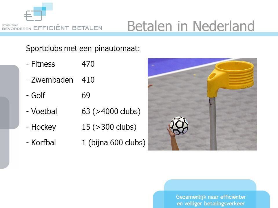 Gezamenlijk naar efficiënter en veiliger betalingsverkeer Betalen in Nederland Sportclubs met een pinautomaat: - Fitness470 - Zwembaden410 - Golf69 -