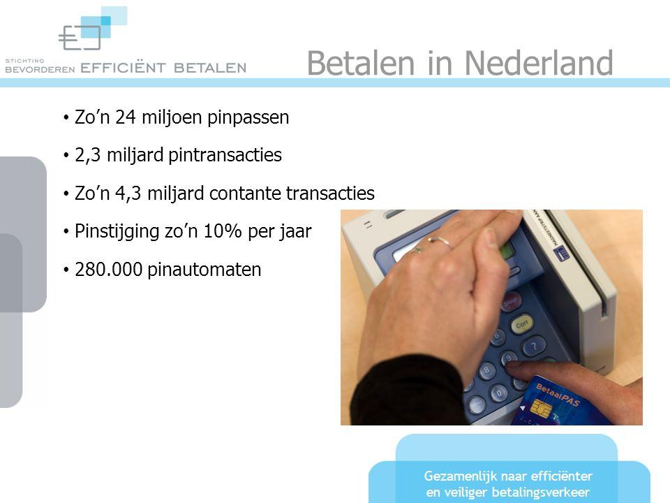 Gezamenlijk naar efficiënter en veiliger betalingsverkeer Betalen in Nederland Zo'n 24 miljoen pinpassen 2,3 miljard pintransacties Zo'n 4,3 miljard c