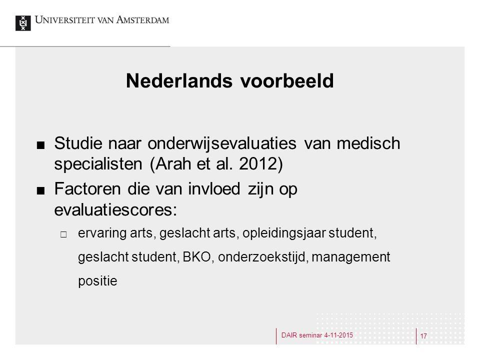 Nederlands voorbeeld Studie naar onderwijsevaluaties van medisch specialisten (Arah et al.
