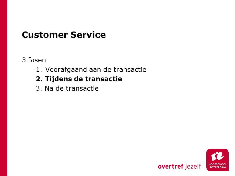 Customer Service 3 fasen 1.Voorafgaand aan de transactie 2.