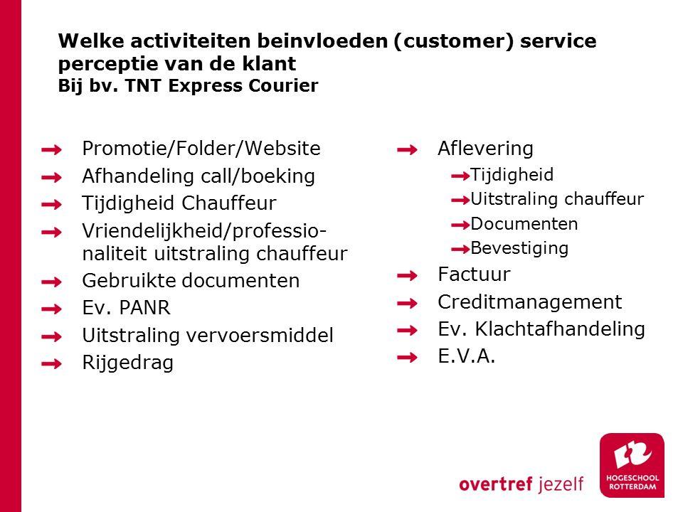 Welke activiteiten beinvloeden (customer) service perceptie van de klant Bij bv.