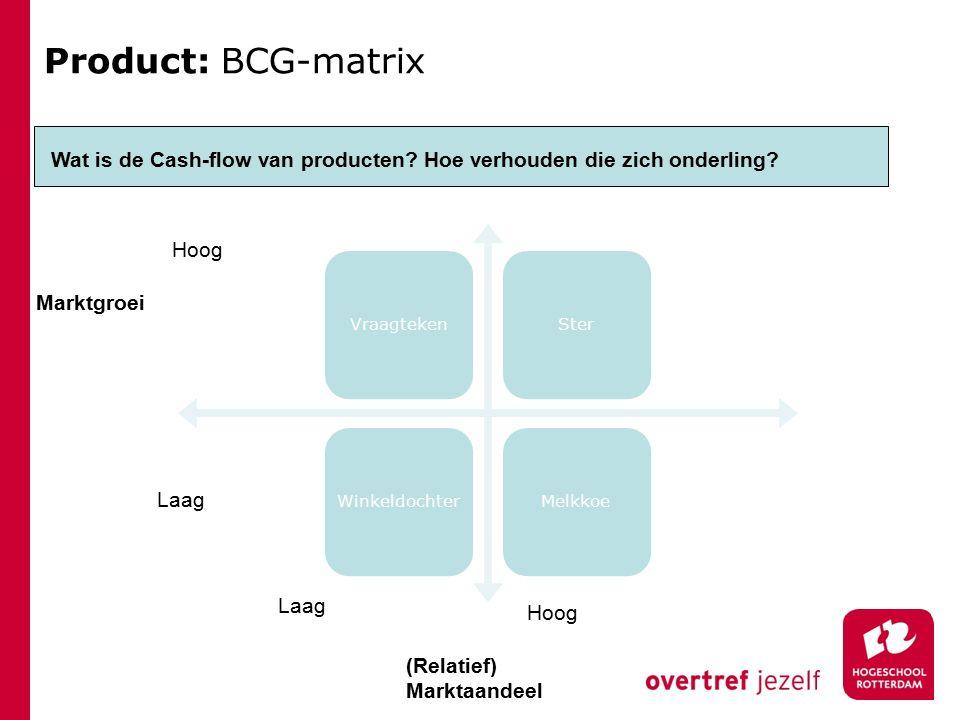 Product: BCG-matrix VraagtekenSterWinkeldochterMelkkoe Wat is de Cash-flow van producten.