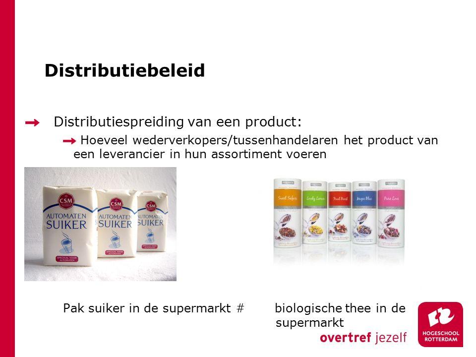 Distributiebeleid Distributiespreiding van een product: Hoeveel wederverkopers/tussenhandelaren het product van een leverancier in hun assortiment voeren Pak suiker in de supermarkt # biologische thee in de supermarkt