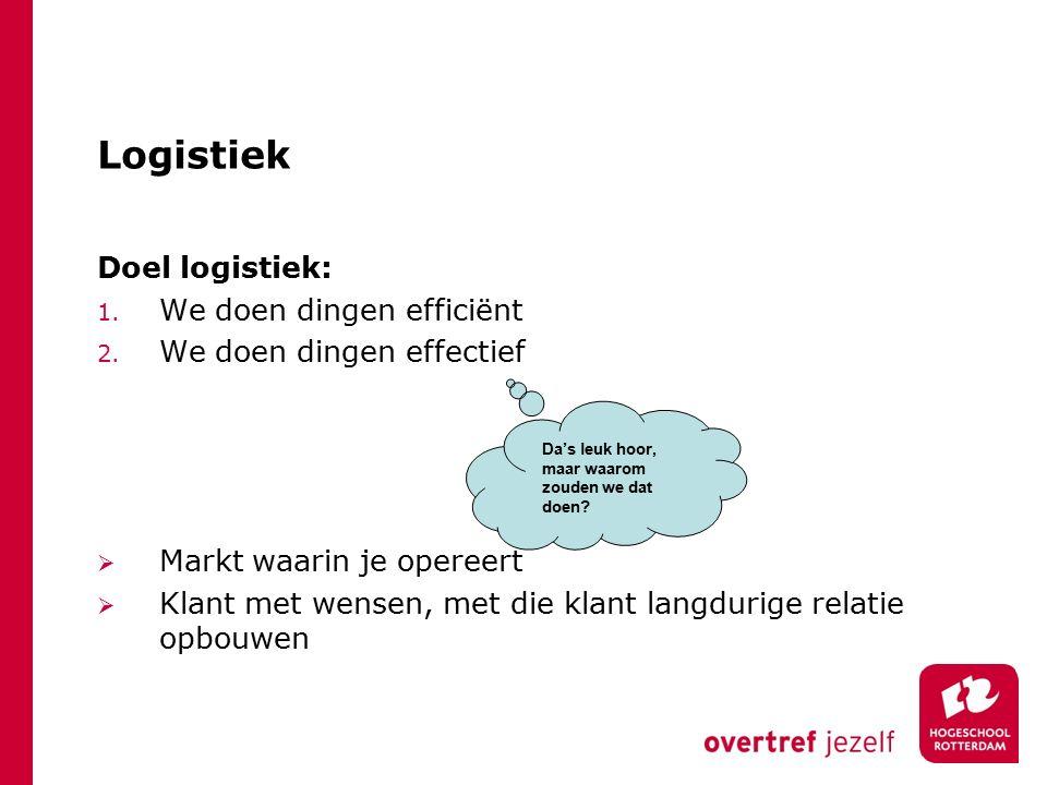 Logistiek Doel logistiek: 1.We doen dingen efficiënt 2.